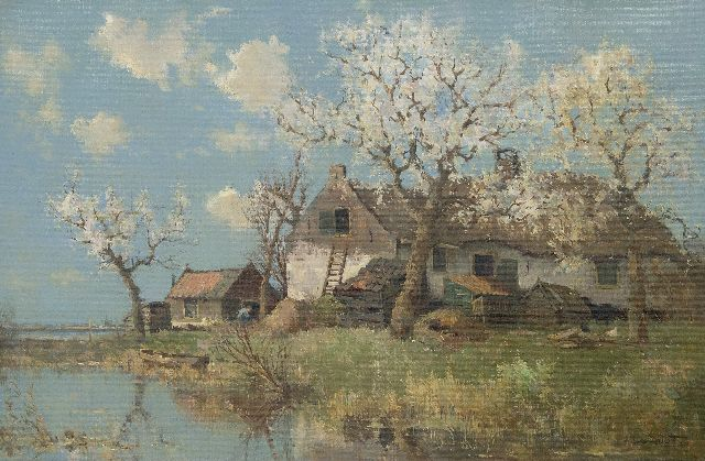 Driesten A.J. van | A view of 't Zuideind, Zoeterwoude, oil on canvas 40.0 x 60.0 cm, signed l.r.