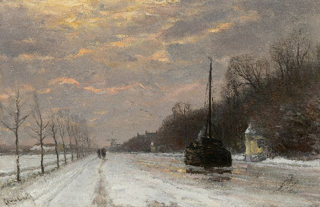 Louis Apol | A barge on the river Vecht in winter, oil on panel, 27.5 x 42.1 cm, signed l.l.