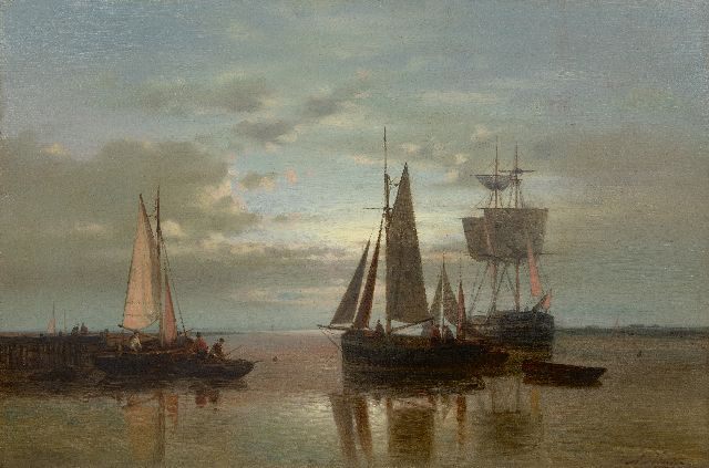 Abraham Hulk | Sailing ships anchored at sunset, oil on canvas, 40.5 x 60.8 cm, signed l.r.