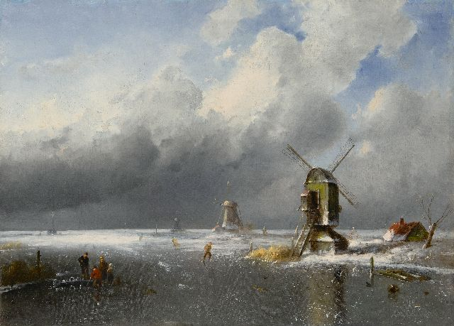 Charles Leickert | Figures on the ice with an approaching snowstorm, oil on canvas, 42.2 x 58.2 cm, signed l.r.