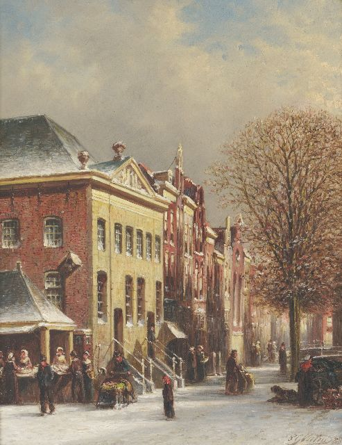 Petrus Gerardus Vertin | A snowy street with a fish stall, oil on panel, 30.8 x 24.3 cm, signed l.r. and dated '88