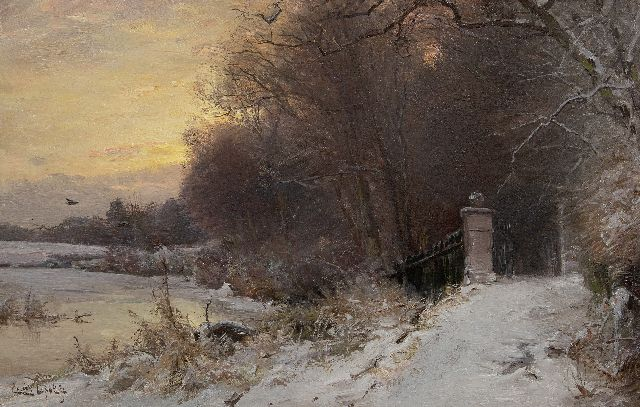 Louis Apol | A winter landscape at an ornamental gate, oil on canvas, 45.5 x 70.3 cm, signed l.l.