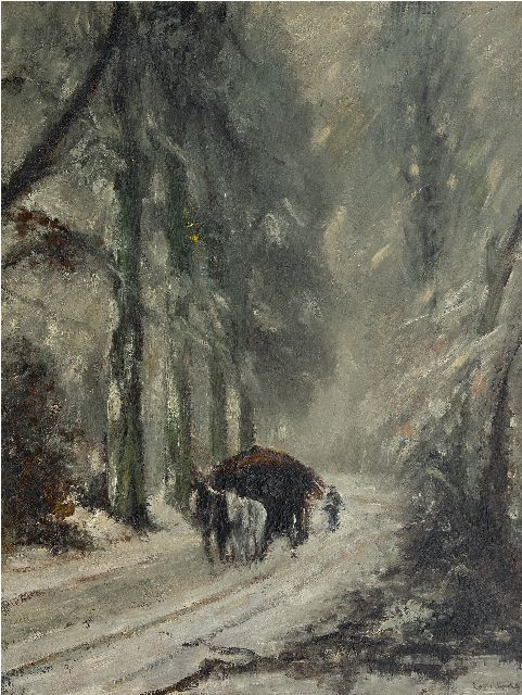 Louis Apol | After snowfall: horse and cart on snowy forest path, oil on canvas, 81.0 x 61.0 cm, signed l.l. and ca 1935