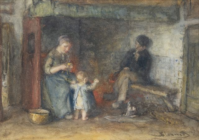 Blommers B.J.  | By the fireplace, watercolour on paper 35.6 x 50.0 cm, signed l.r.
