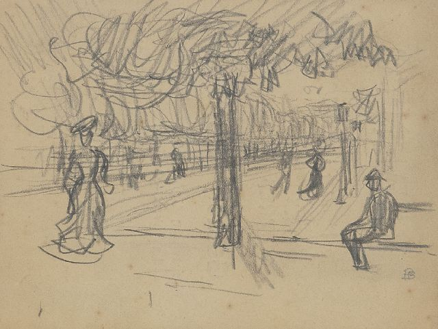 Pierre Bonnard | Boulevard animé, black chalk on paper, 10.9 x 14.0 cm, signed l.r. with monogram