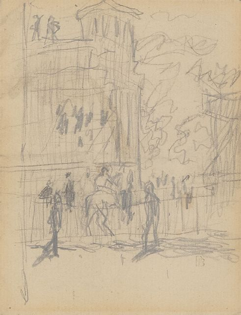 Pierre Bonnard | At the races, pencil on paper, 11.0 x 8.5 cm, signed l.r. with stamp