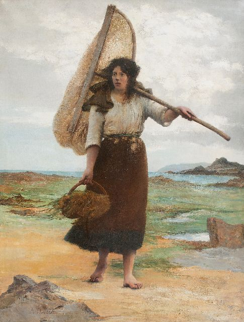 François-Alfred Delobbe | Fisher girl, oil on canvas, 248.0 x 191.0 cm, signed l.r.