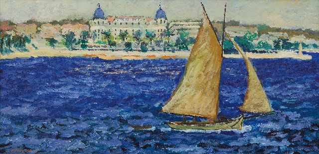 Ramon Dilley | Cannes, Le Carlton, oil on canvas, 30.0 x 60.3 cm, signed l.l. and dated '82