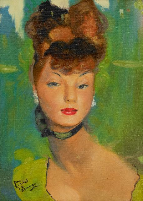 Jean-Gabriel Domergue | Young woman dressed in green, oil on canvas, 33.5 x 24.0 cm, signed l.l.