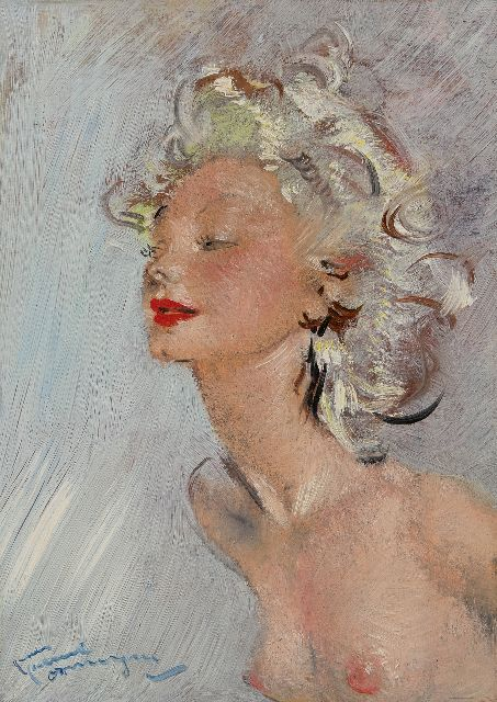Jean-Gabriel Domergue | La blonde, oil on board, 33.0 x 41.0 cm, signed l.l.