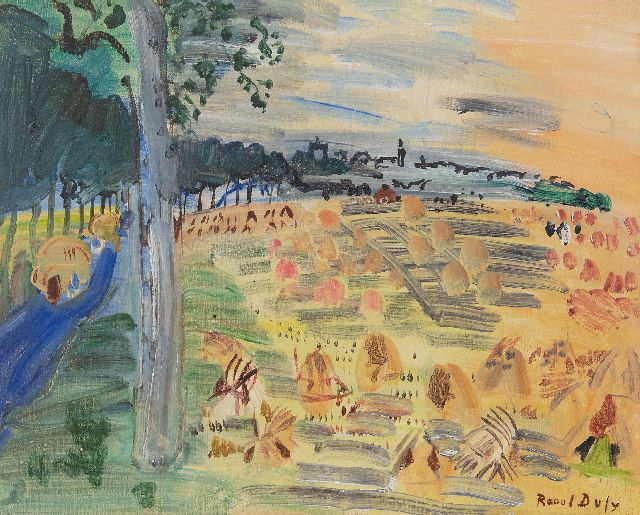 Raoul Dufy | Moisson de Langres (Harvest in Langres), oil on canvas, 33.0 x 41.0 cm, signed l.r. and dated  'Langres' 1935