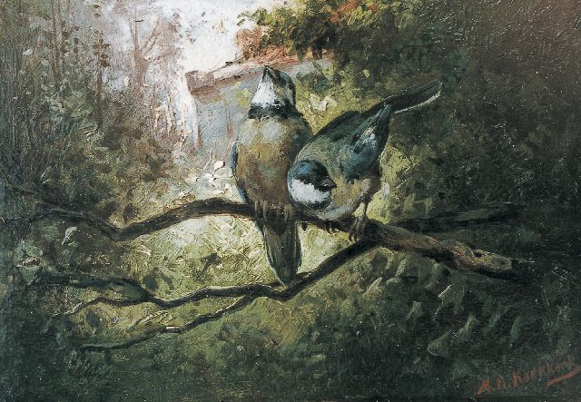 Marinus Adrianus Koekkoek II | Bluetits, oil on panel, 13.5 x 19.7 cm, signed l.r.