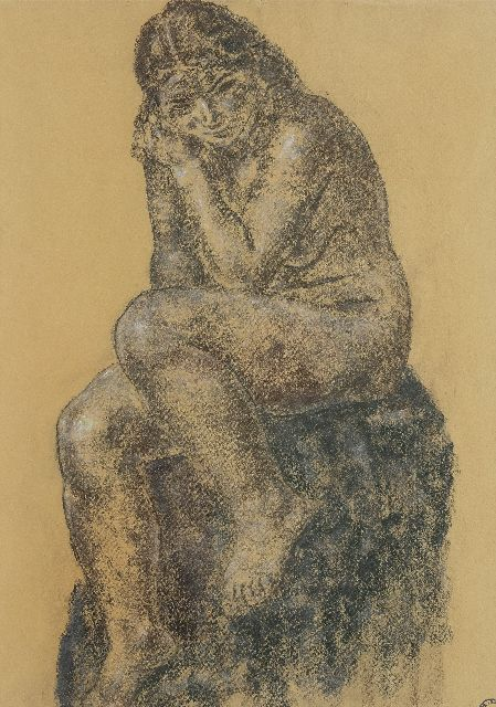 Gestel L.  | Seated naked, pastel on paper 64.0 x 45.5 cm