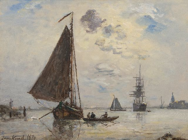 Johan Barthold Jongkind | Sortie de Port en Hollande, oil on canvas, 24.4 x 32.7 cm, signed l.l. and dated 1870