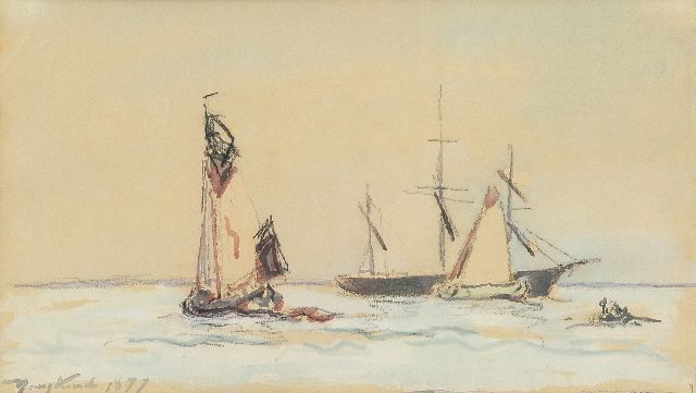 Johan Barthold Jongkind | Sailing ships on a river, crayon and watercolour on paper, 15.0 x 26.0 cm, signed l.l. and dated 1877