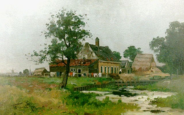 Willem Rip | A farmstead near IJsselmonde, Rotterdam, oil on canvas, 32.8 x 51.2 cm, signed l.l.
