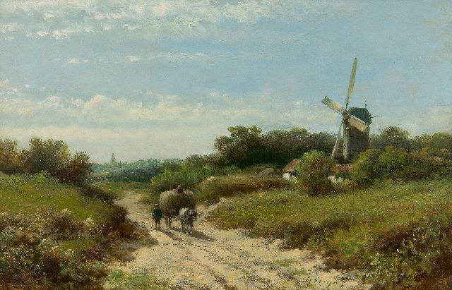 Lodewijk Johannes Kleijn | Farmers on the way home, oil on panel, 21.0 x 30.5 cm, signed l.r.