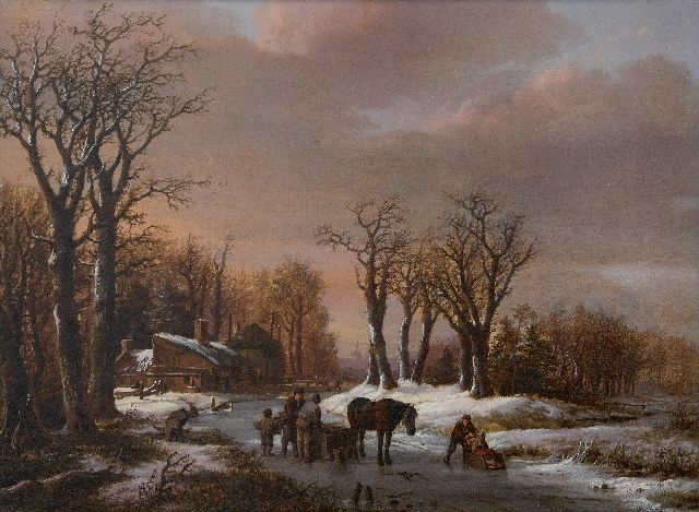 Barend Cornelis Koekkoek | Winter landscape with a horse sleigh on the ice, oil on canvas, 44.0 x 58.0 cm, signed l.r. and dated 1824