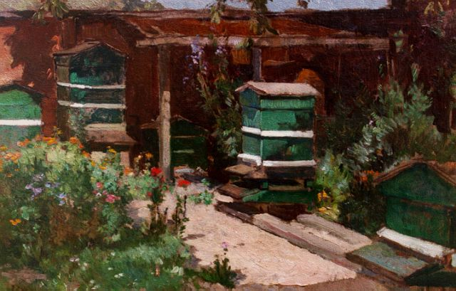 Johannes Evert Hendrik Akkeringa | Beehives, oil on canvas, 29.2 x 40.0 cm, signed l.l.