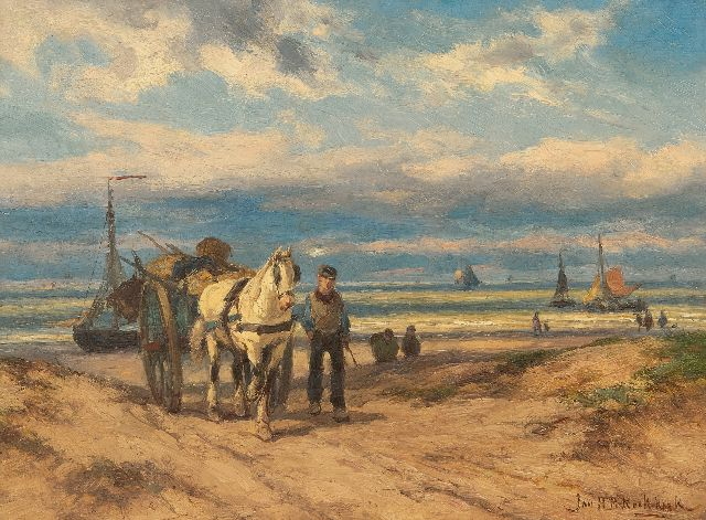Jan H.B. Koekkoek | Fisherman and horse carriage from the beach home, oil on panel, 26.8 x 36.0 cm, signed l.r.