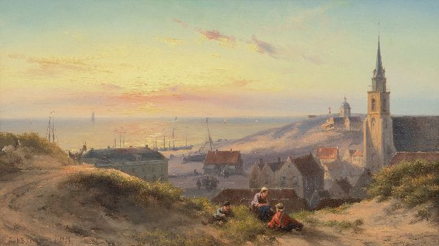 Jan H.B. Koekkoek | Sunset over the dunes of Scheveningen, oil on panel, 24.0 x 41.5 cm, signed l.l. and dated 1888