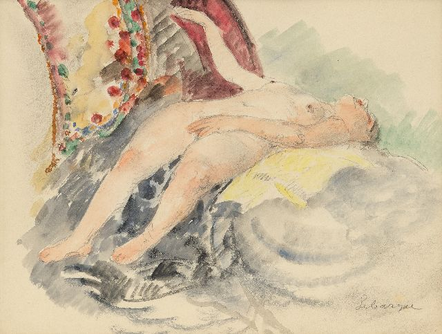 Henri Lebasque | Nu au Canapé (Nude on the sofa), pencil and watercolour on paper, 21.5 x 27.5 cm, signed l.r.