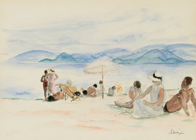 Lebasque H.  | On the beach of Cannes, pencil and watercolour on paper 25.0 x 34.5 cm, signed l.r. and painted ca. 1930
