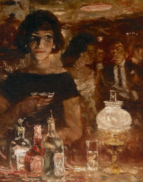 Rolf Dieter Meyer-Wiegand | Cocktail at the bar, oil on panel, 30.0 x 24.0 cm, signed u.r.
