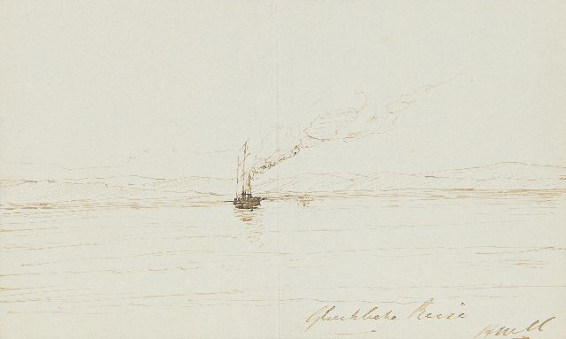Hendrik Willem Mesdag | Glückliche Reise, pen and Indian ink on paper, 11.5 x 18.5 cm, signed l.r. with initials