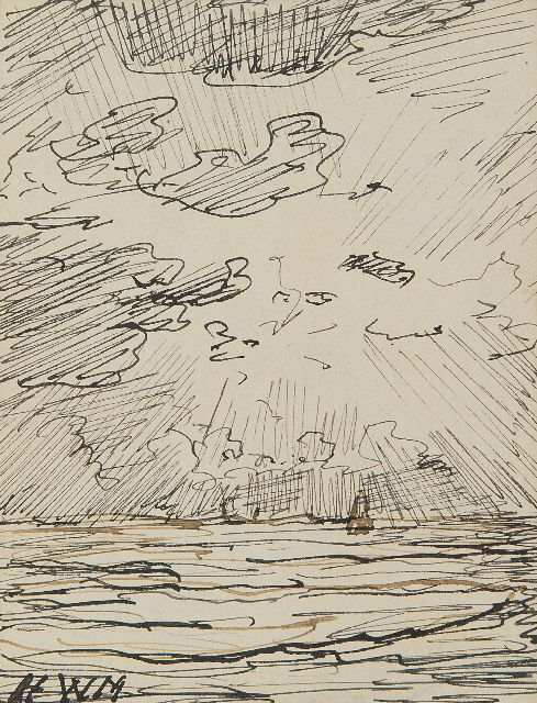 Hendrik Willem Mesdag | Bomb barge on the high seas, Indian ink on paper, 12.0 x 9.5 cm, signed l.l. with monogram