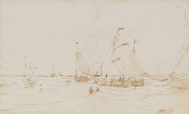Hendrik Willem Mesdag | Lineman on the way to bomb barges in the surf, sepia on paper, 11.5 x 18.0 cm, signed l.r. with monogram