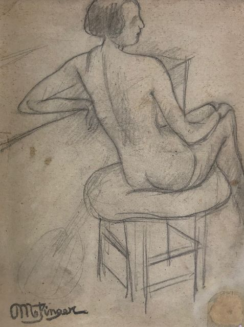 Jean Metzinger | Etude d'une femme nue assise; on the reverse: Guitarist, pencil on paper, 15.5 x 11.0 cm, signed 