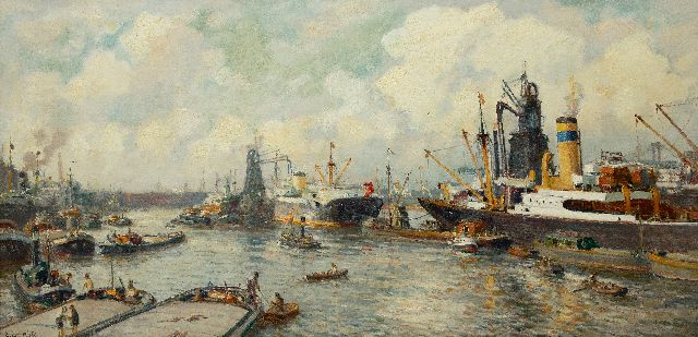 Evert Moll | A view of the Maashaven, Rotterdam, oil on canvas, 81.0 x 164.5 cm, signed l.l.