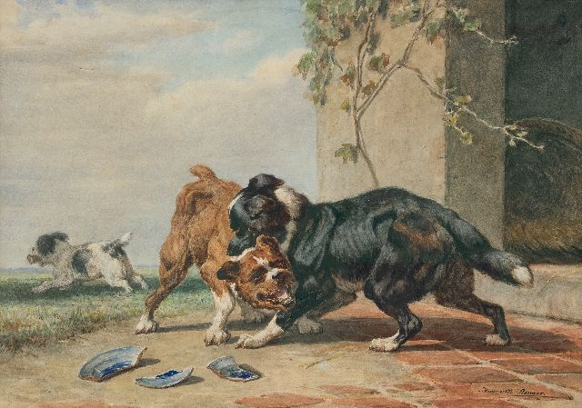 Henriette Ronner-Knip | While two dogs are fighting for a bone..., watercolour on paper, 45.5 x 65.0 cm, signed l.r.