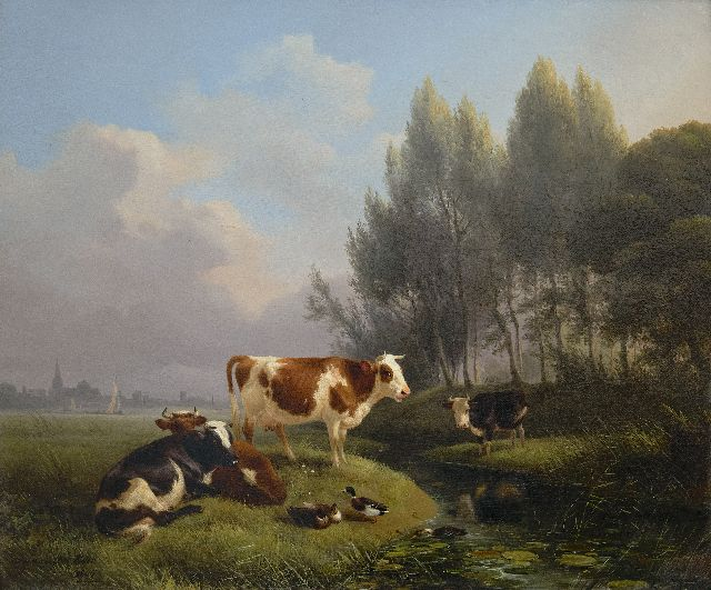 Henriette Ronner-Knip | Cows in a meadow, Den Bosch in the distance, oil on panel, 33.0 x 39.2 cm, signed l.l. and dated 1845