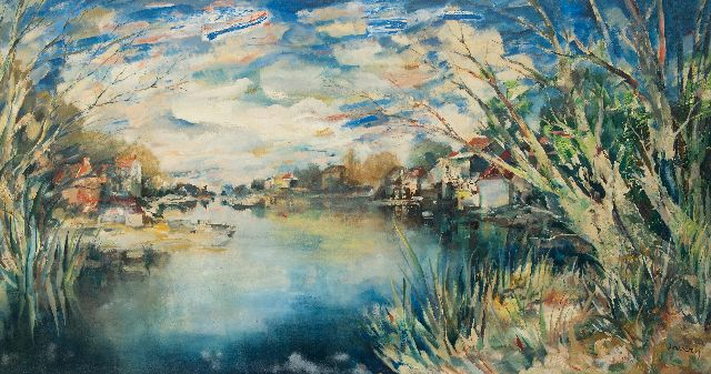 Albert Saverys | Summer view of the Leie, oil on canvas, 157.0 x 290.0 cm, signed l.c. and painted late 1950's