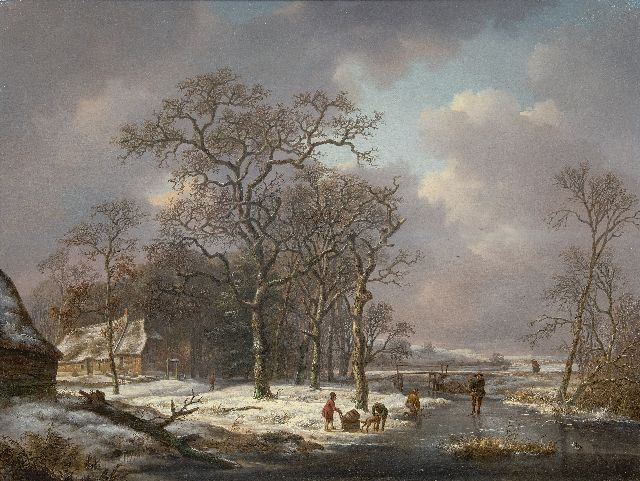 Andreas Schelfhout | Winter landscape with figures on a frozen ditch, oil on panel, 53.2 x 71.0 cm, signed l.c.