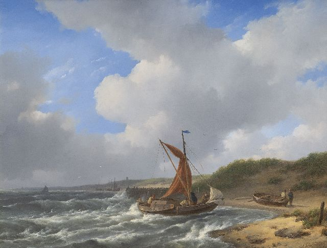 Andreas Schelfhout | Approaching the shore, oil on panel, 32.5 x 41.5 cm, signed l.r.