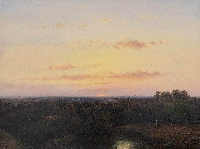 Andreas Schelfhout | Panoramic landscape at sunset, oil on panel, 21.8 x 29.1 cm, signed l.l. and dated '51