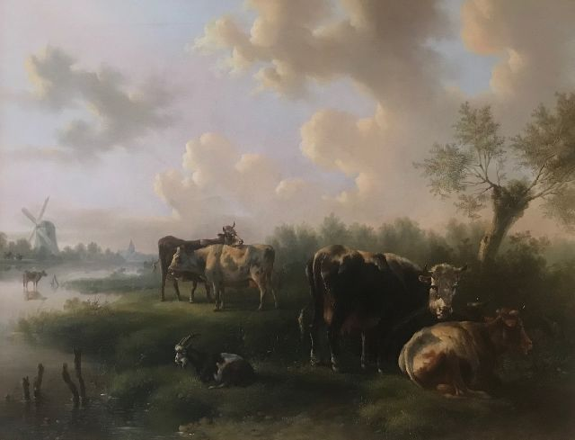 Albertus Verhoesen | Resting cattle by a river, oil on canvas, 62.2 x 80.0 cm, signed l.c. and dated 1849