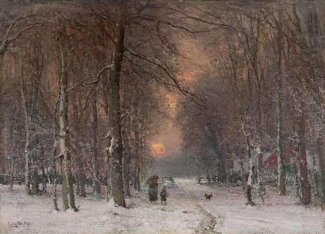 Louis Apol | Winter landscape with wood gatherers, oil on canvas, 50.6 x 71.0 cm, signed l.l.