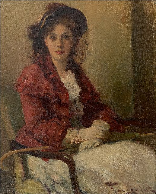 Fernand Toussaint | Young woman with red jacket, oil on canvas laid down on painter's board, 26.8 x 22.0 cm, signed l.r.