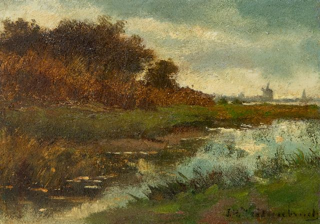 Jan Hendrik Weissenbruch | Polder landscape, oil on panel, 9.6 x 13.7 cm, signed l.r.