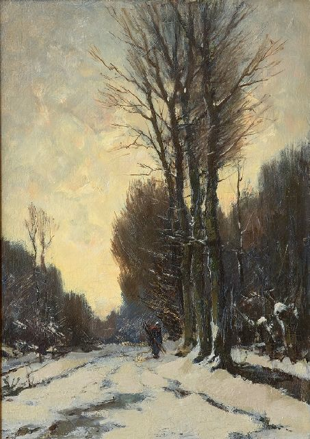 Frits Mondriaan | A figure on a snow-covered path, oil on panel, 37.7 x 26.3 cm, signed l.r.