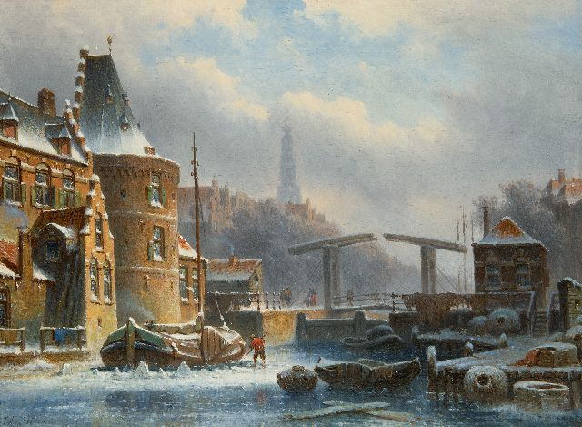 Eduard Alexander Hilverdink | Amsterdam canal in winter, oil on panel, 23.2 x 31.5 cm, signed l.l. and dated '69