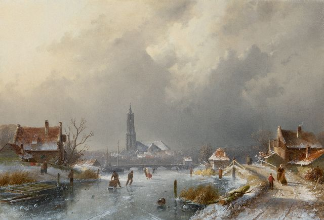 Charles Leickert | Winter landscape with skaters an a koek-en-zopie, oil on canvas, 45.0 x 65.7 cm, signed l.l.