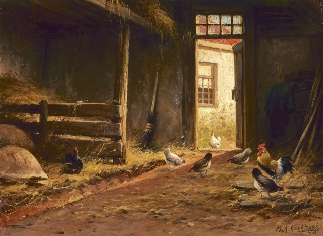 Marinus Adrianus Koekkoek II | Poultry in a stable, oil on panel, 24.1 x 32.5 cm, signed l.r. and dated 1905