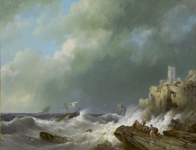 Hermanus Koekkoek | Shipwreck near a rocky coast, oil on panel, 42.5 x 55.5 cm, signed l.r. and dated 1834