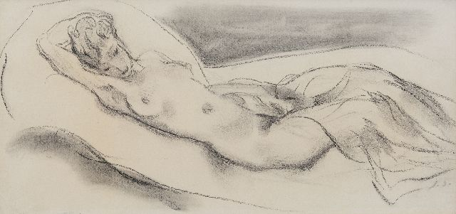 Jan Sluijters | Female nude, charcoal on paper, 25.0 x 50.0 cm, signed l.r. with initials and executed ca. 1943