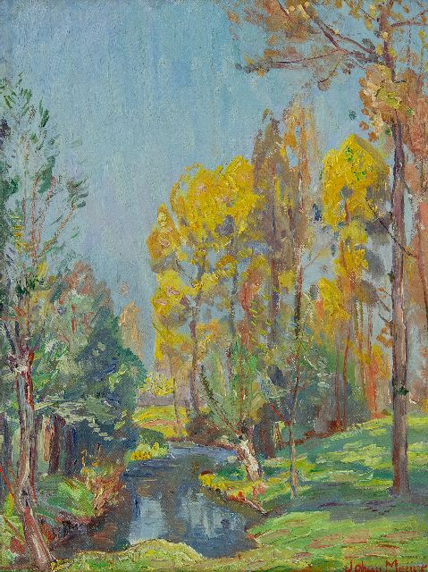 Johan Meijer | Sunny autumnal forest, oil on canvas laid down on board, 29.1 x 22.3 cm, signed l.r.